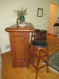 beverage center with a pair of matching stools, brass footrail GREAT ITEM