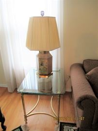 TABLE LAMPS AND BRASS AND GLASS  TABLES