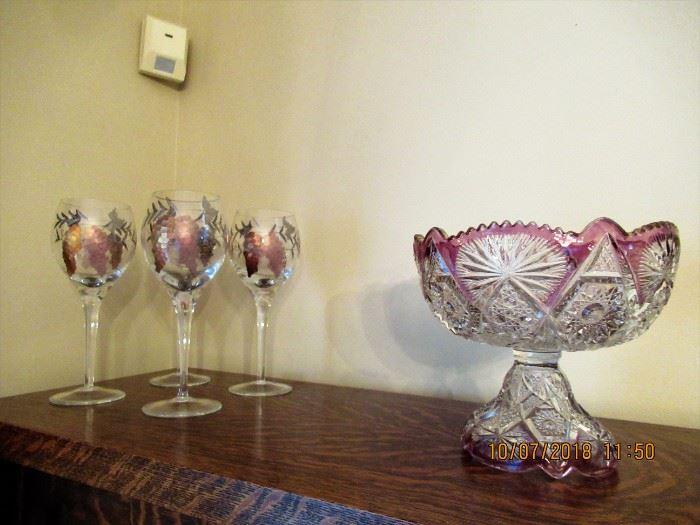 CUT GLASS RUBY FLASH PUNCH BOWL