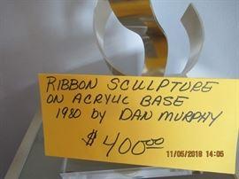 "BUY IT NOW,   $400.00 ""ribbon sculpture on acrylic base dated 1980 by Dan Murphy"