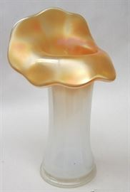 "Jack in the Pulpit glass vase. White opalescent body, orange iridescent carnival glass top. 8.5"" tall"