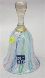"""Italian Latticino glass bell. Has """"KB: label. 5.75"""" tall"""