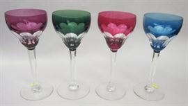"Set of four Val St Lambert cut to clear crystal goblets. 7.25"" tall"