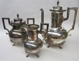 Meridian Aesthetic movement three piece silver plated tea set