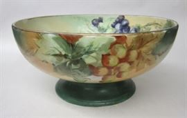 "Hand painted porcelain footed fruit bowl. 10 5/8"" wide. Ink stamp signature Ciulla Art Studio"