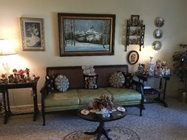 vintage sofa and a view of some of the home décor accents