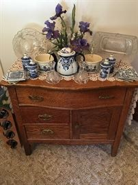 side table with blue and white pieces