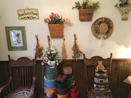 shaker style baskets and home décor