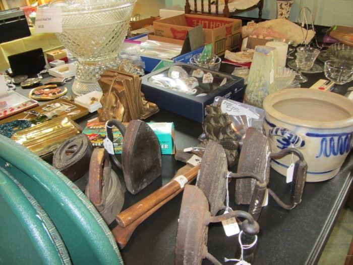 Salt Glaze Pottery, Antique Irons
