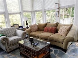 Beautiful sofa with two matching occasional chairs