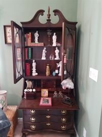 Beautiful vintage secretary with glass doors and serpentine front