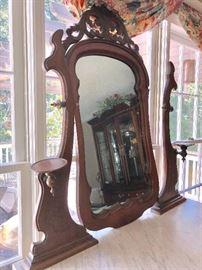 Mirror top of antique victorian chest