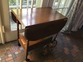Antique rolling, drop leaf tea cart $375 approx 1910