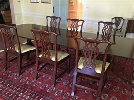 6  Hand carved dining room chairs from 1760 with documentation MALCOM FRANKLIN CHIPPENDALE Purchased $8500   Replacement value $14k. Selling for $$6000   Table crafted inEngland 2 leaves. Mahogany 10 ft with leaves 6 foot without.