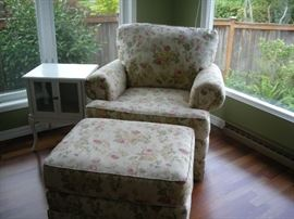 Floral chair and ottoman, small side cabinet