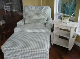 Comfy chair with ottoman, small side table