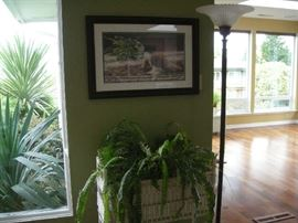 """Floor lamp, wicker plant stand with ferns, limited edition print """"Deep Trouble"""""""