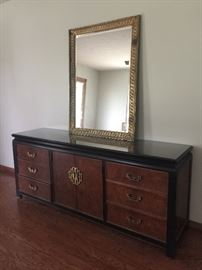 70's vintage dresser w/mirror - 2 matching night stands