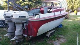 50's Skagit 20 ft. fiberglass boat and twin 40 horse Johnson motors