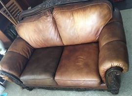 KFL003 Leather and Wood Love Seat