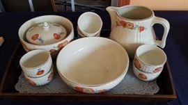 Vintage Hall's Superior Quality  Orange Poppy piece collection Kitchenware Set