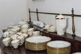 "Essex by Lenox:  Sold By The Piece. Dinner Plates. (16 available):  $22.50ea.  Tea Cups & Saucers.  (16 available):  $19.50ea.  Salad Plates.  (12 available):  $12.00ea.  Vegetable Bowl:  $39.00  Coffee Pot:  $120.00  Bread & Butter Plates.  (12 available):  $7.50ea.  1 Berry Bowl:  $15.00  Cream & Sugar:  $75.00pair  16"" Platter:  $75.00  18"" Platter:  $150.00  Round Platter:  $49.50  Vegetable Bowl w/Cover:  $150.00.  Lenox Dimension Soup Serving Collection:  3 Sets available.  Set of 4 @:  $60.00ea.  Fitz & Floyd Soup Terrine & Under Plate:  $75.00  Lenox Pots d Creme.  Set of 5:  $45.00"