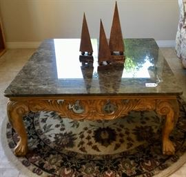 Marble top coffee table with carved wood base- has matching end table