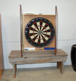 Joe Camel Dart Board & Barn Wood Bench