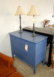 Antique Blue Painted Dresser & Lamps