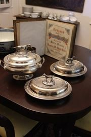 English Birmingham sterling tureens with dog finials and a beautiful handcolored book.