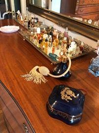 Limoges vanity set,  miniature perfumes