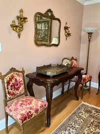 Console table & pair antique cut velvet French chairs