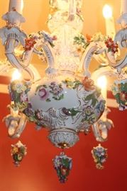 Gorgeous Dresden Porcelain Chandelier