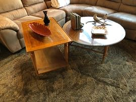 Mid Century round coffee table and end table made by Lane Furniture 1960