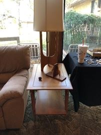 Mid Century End table by Lane and vintage lamp