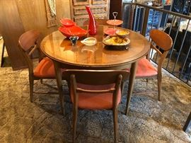 Mid Century early 1960's Lane dining table with 6 chairs and leaf, Lane Furniture Alta Vista Virginia