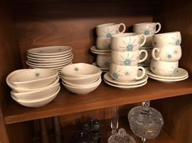"""1954 """"Atomic"""" Franciscan Pottery. Berry bowls, Bread and butter plates and cups and saucers only."""