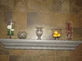 Crystal and glassware on the Mantel
