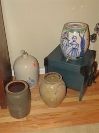 Salt glazed Jugs, eared crocks and more !
