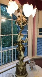 Beautiful Tall Figural Banquet Lamp
