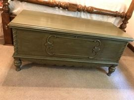 Painted cedar chest. Original paperwork attached on inside lid. Sixties faux finish. Would look great in your home!
