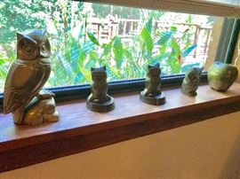 a collection of owls. From Alabaster to soapstone. They need a place in your home.