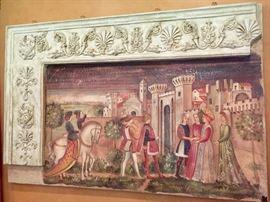 "14. Italian Renaissance Fresco w/ Relief Frame (60"" x 40"")"
