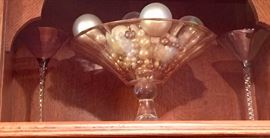 """105. Chanpagne colored Glass Footed Bowl w/ Gilt Detail (10"""")"""