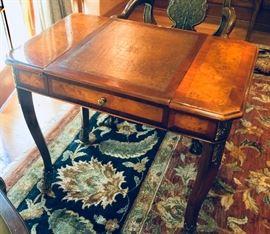 "2. Maitland Smith Burlwood Inlay Game Table w/ Ornate Brass Detail (32"" x 22"" x 30"")"
