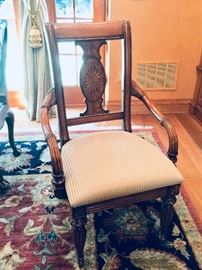 """12. Carved Wood Arm Chairs w/ Inlay Detail on Back (24"""" x 24"""" x 40"""")"""