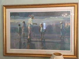 """133. Lithograph of Children at the Shore by LaHuit LXXIV/C (47"""" x 34"""")"""