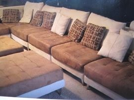 Sectional with matching Ottomans.