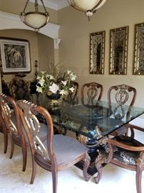 """Amazing Double Pedestal Glass Dining Table measures 96' long x 52"""" wide.  Will be priced with and without chairs. ****THIS ITEM IS AVALIABLE FOR PRESALE**** Please contact us."""