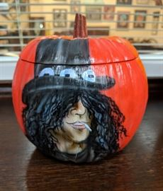Slash on small ceramic pumpkin by Ron Shuey